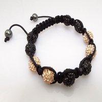 Fashion best selling newest styles Unisex Style Crystal plastic ball 10mm Shambhala Fashion Bracelet CC30