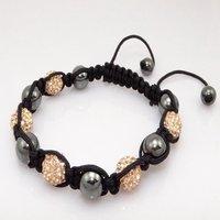 Fashion best selling newest styles Unisex Style Crystal plastic ball 10mm Shambhala Fashion Bracelet CC32