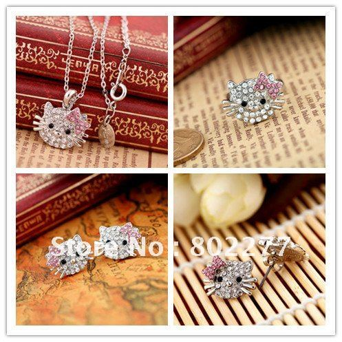 Silver plated hello kitty jewelry set for girls,necklace&amp;rings&amp;earrings,lot 10sets free shipping(China (Mainland))