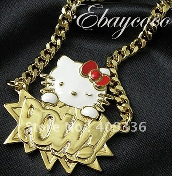"FREE SHIPPING Iced Out ICED OUT  GOLD PLATED FINISHED crash hello kitty ambush pow WTIH 36"" BIG CHAIN"