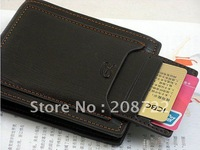 free shipping Mens real genuine Leather Wallet Pockets Card Clutch Cente Bifold Purse #D526-40
