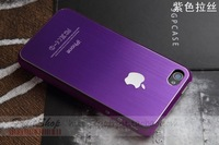 Purple  Ultra thin Luxury Brushed Aluminum metal Case cover skin for IP 4 4G 4S