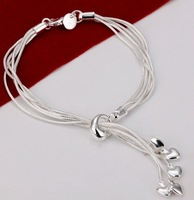 Hot!Free Shipping wholesale 925 Silver Bracet fashion jewelry.Snake Chain Heart Charm Bracelet.Super Price.High Quality