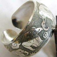 New Tibetan Tibet Silver Elephant Bangle Cuff Bracelet Rb004