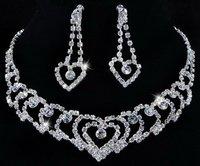 Heart Rhinestone Crystal Clear Necklace Dangle Earrings Bridal 1Set