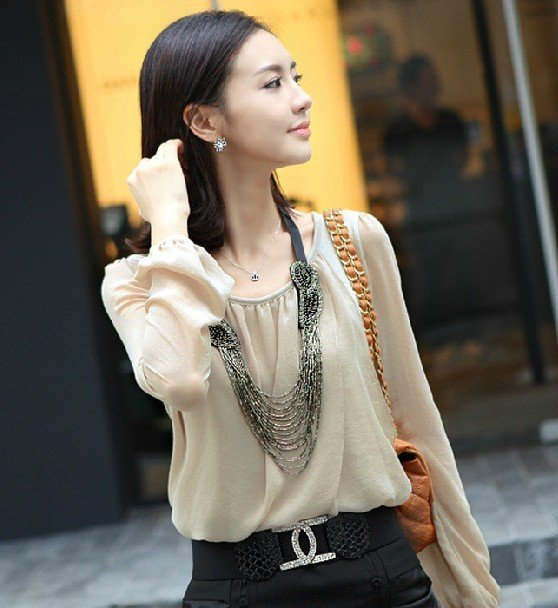 Free Shipping Hot Sale Women New Fashion Chiffon Lady blouse Beige, white, black Size: S M L(China (Mainland))