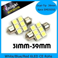 39mm 6LEDs SMD5050 Dual tip car sun visor lights, LED festoon lamp , 12V DC W/B/R, Free Shipping !
