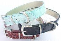 Direct manufacturers, PU pet collar, collar, crocodile pattern, free shipping
