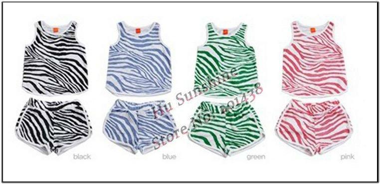 5sets baby summer clothing set kids zebrastripe sport suits baby Tshirt