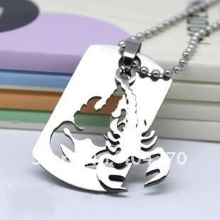 Fashion Hollow Scorpion Titanium Steel Pendant Necklace, 316L Stainless Steel Men's Pendants, Personalized Jewellery, 50pcs/lot