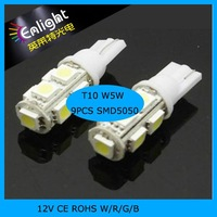 Car Side Light Bulbs 9 LEDS T10 W5W SMD5050 12V DC W/R/G/B