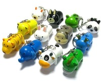 Hot Wholesale 2012 Free shipping Pallpoint Pen Cartoon Pen Cute Animal Key Chain Ballpen 24pcs/lot Different Designs &Colors