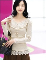 wholesale free shipping new style Long-sleeve Autumn T- shirt fashion shirt cotton --Black/Beige