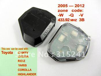 2005-2012 Toyota remote - auto key- toyota remote key - auto transponder key  (433.92MHZ 3B W-Q-V ) free shipping