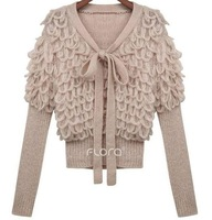 Женский кардиган Ladies' back hook flower cutout Delta short fashion ladies knit shirts long sleeves Cardigan jacket