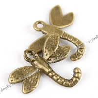 Wholesale - 120PCS Hot Dragonfly Antique Bronze Tone Charms Loop pendants Beads Animal Jewerly Findings 140802