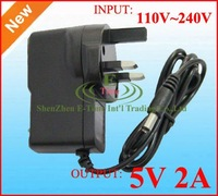AC 100-240V to DC 5V 2A Power Adapter Supply Charger adaptor 50pcs DHL free shipping UK Plug