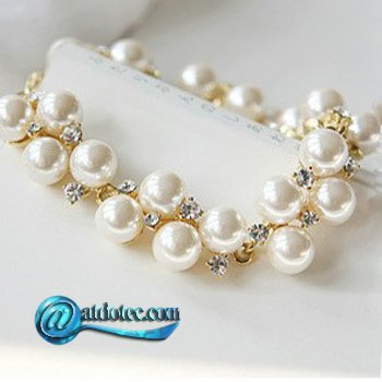 Min Order 12$ Retro Vintage Double Layers Pearl Scalable Bracelet Bangle SL0022
