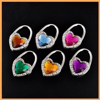 Free shipping 50pcs/lot Heart Design Bag hanger Folding Bag Purse Hanger  Crystal bag Best gift