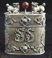 Beautiful Tibet silver Carved Dragon Box