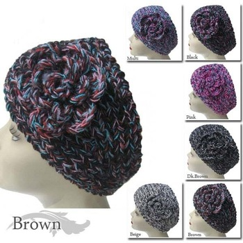 Handmade headbands Knit Crochet Headwrap flower Headband multicolor style