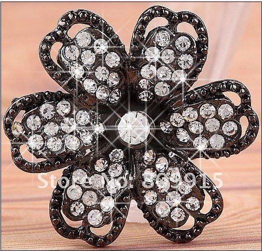 5pcs/lot Black Crystal Spacer Charm Flower Ring Setting 41mm 3 Strand BD328-1(China (Mainland))