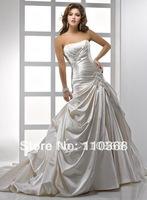 Alabaster Satin Strapless Scoop Neckline Sleeveless Bridal Wedding Dresses,Wedding Bridal Dresses-Rebecca