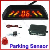 Car LED Reverse Backup Radar System 4 Parking Sensor R