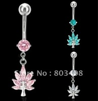 Crystal Frog leafe Charm  belly ring Banana Navel Ring  body jewelry BL056
