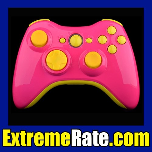 Polished Pink Joysticks Controller Shell for Xbox 360 Housing Components With Yellow Accessories(China (Mainland))