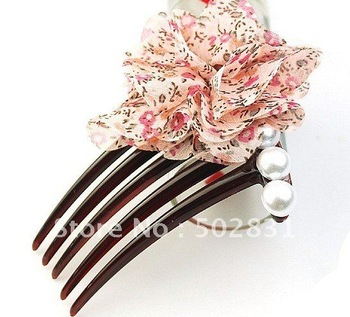 Wholesale retails Hot selling hair bow ribbon / inserted comb /hair brush hair accessory FS074