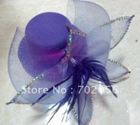 handmade Veil Feather Stone Pin-up Fur Fascinator Hair Clip Top Hat Wedding Fascinator 40pcs/lot#1953