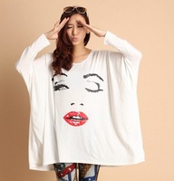 Free shipping 2013 Fasion  wear/ tunic top/Plus size loose Tees shirt  ,long sleeve t shirt  woman  S-XXXXXXXXL