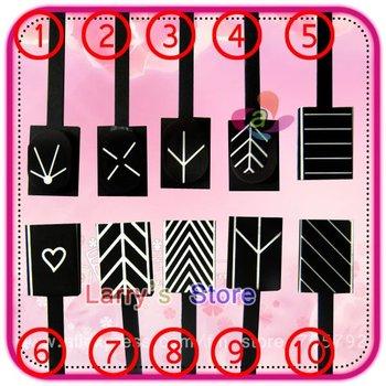 Free Shipping 10 Designs Available Magnetic Polish Tips Sheet Strip For Nail Art 10pcs/Lot Slice Magnet Metallic Metalic UV Tool