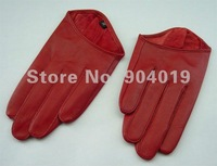 Red Sexy Lady 5 Fingers Half Palm Genuine Leather Gloves Size L