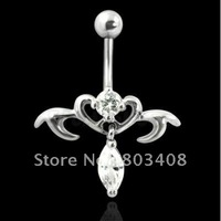 Tribal Heart Teardrop Charm belly ring Banana Navel Ring  body jewelry BL059