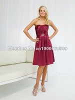 Платье для подружки невесты B231112 Spaghetti Straps Draped Empire Satin Purple Color Floor-Length Bridesmaid Dresses Custom Made