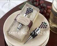 Free shipping Europe , Vineyard Select Enamel and Chrome Bottle Stopper Wedding Favors100PCS/LOT, wholesale or retail