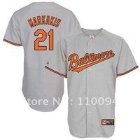 Majestic Nick Markakis Baltimore Orioles Jersey-#21 Gray baseball jersey,usa baseball jersey sale