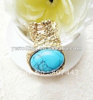 Fashion Multicolor Gold Ring With Turquoise Cocktail Ring