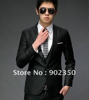 hot sale  free shipping suit jackets for men flat casual business jackets south korean dress suit coat  black/grey M-XL 124A95