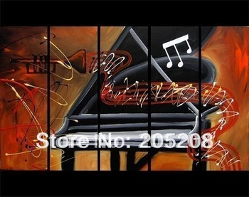Framed 5 Panels 100% Handpainted Huge Wall Art Music Instrument Modern Oil Painting on Canvas for Wall Decor Picture--XD00218