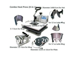 Multifunctional Combo Heat Press Machine for sublimation transfer for mug t-shirt cap plate printing 8 in 1(China (Mainland))