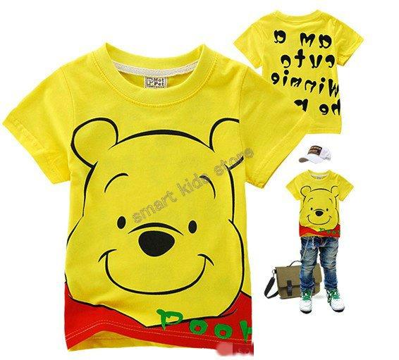 Free shipping2012 Hot sale baby cartoon yellow bear short sleeves Tshirts