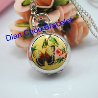 Freeshipping  20pcs/lot  mix different modles necklace small cute girls  pocket watches ceramic  flower surface   Dia27mm FL07