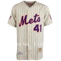 Mitchell & Ness New York Mets #41 Tom Seaver White Pinstripe Throwback Jersey,usa baseball jersey sale
