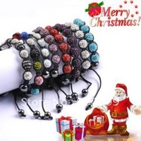 50 PcsTresor Paris Wholesale, free shipping, New Tresor Paris Shamballa Bracelets Micro Pave CZ Disco Ball Bead C91
