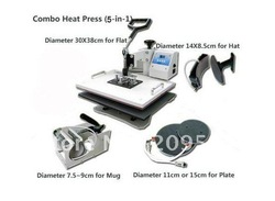 Hot Sell Combo transfer machine for Mug Hat Plate T-shirt Flat printing 5 in 1(China (Mainland))