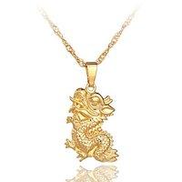 24k 18k 14k gold dragon pendant necklace 22C068  2-year guarantee factory price