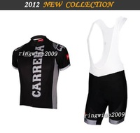 Free Shipping!! MEN'S SUMMER CYCLING JERSEY+BIB SHORTS 2012 C**** TEAM-BLACK-SZ: xS-4XL& Wholesale/Retail